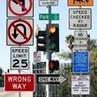 A lot of traffic signs