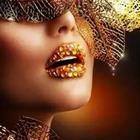 Gold studded lips