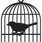 A cartoon bird inside of a cage