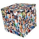 A 3-D square of people's pictures