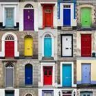 A bunch of different colored doors