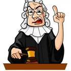 A cartoon judge with his hand raised and one finger up