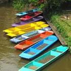 A row of boats in different colors