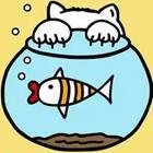 A cartoon fish bowl with a cat's claws on it
