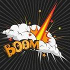"A cartoon drawing with the word ""Boom"""