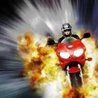 A person driving a motorcycle with fire behind them