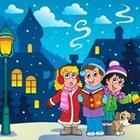 Cartoon character kids standing together in the snow