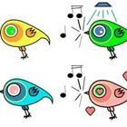 Four cartoon birds in different colors