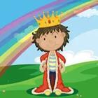 A cartoon figure wearing a red cape and gold crown under a rainbow