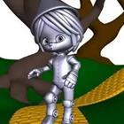 A cartoon figure all in silver