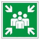 Green sign with people and arrows
